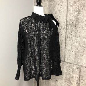 Anthropologie Numph Long Sleeve Lace Top